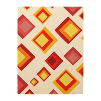 Yellow, orange and red squares wood wall decor