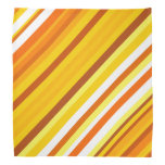 [ Thumbnail: Yellow, Orange and White Sunset-Inspired Stripes Bandana ]