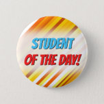 [ Thumbnail: Yellow, Orange and White Sunset-Inspired Stripes Button ]