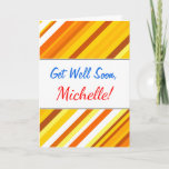 [ Thumbnail: Yellow, Orange and White Sunset-Inspired Stripes Card ]