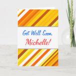 [ Thumbnail: Yellow, Orange and White Sunset-Inspired Stripes Card ]