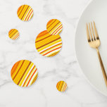 [ Thumbnail: Yellow, Orange and White Sunset-Inspired Stripes Confetti ]
