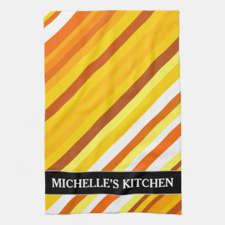 Yellow, Orange and White Sunset-Inspired Stripes Kitchen Towel