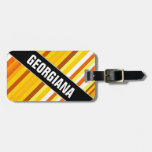 [ Thumbnail: Yellow, Orange and White Sunset-Inspired Stripes Luggage Tag ]