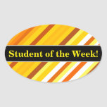 [ Thumbnail: Yellow, Orange and White Sunset-Inspired Stripes Sticker ]
