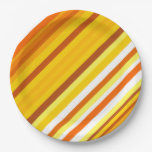 [ Thumbnail: Yellow, Orange and White Sunset-Inspired Stripes Paper Plate ]