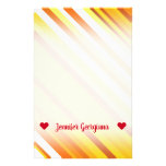 [ Thumbnail: Yellow, Orange and White Sunset-Inspired Stripes Stationery ]