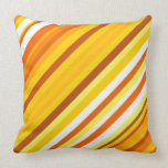 [ Thumbnail: Yellow, Orange and White Sunset-Inspired Stripes Throw Pillow ]