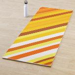 [ Thumbnail: Yellow, Orange and White Sunset-Inspired Stripes Yoga Mat ]