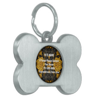 Yellow Orange Animal Print Pet Name Tag