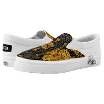 Yellow Orange Animal Print Slip-On Sneakers