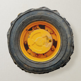 yellow orange antique car flat tire round pillow