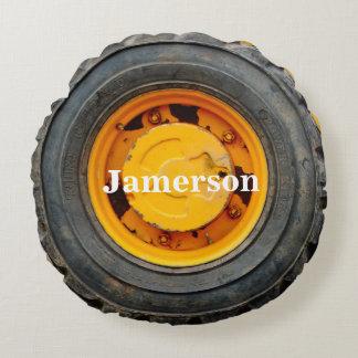yellow orange antique car flat tire round pillow
