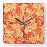 Yellow Orange Bali Batik Style Paisley Pattern Square Wall Clock