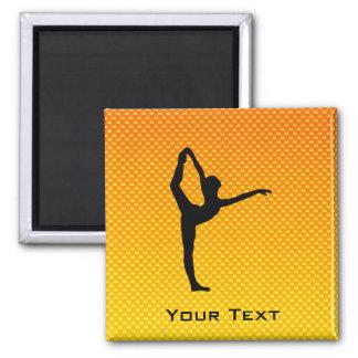 Yellow Orange Ballet 2 Inch Square Magnet