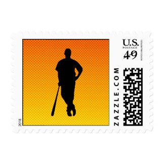 Yellow Orange Baseball Stamp