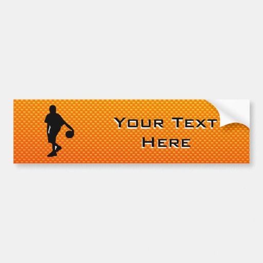 Yellow Orange Basketball Bumper Stickers