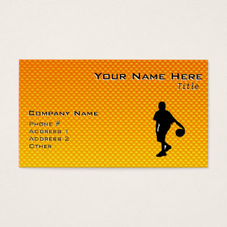 Yellow Orange Basketball Business Card