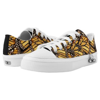 Yellow Orange Black Butterfly Printed Shoes