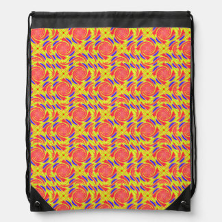Yellow Orange Blue Broken Diamond Swirl Drawstring Bag