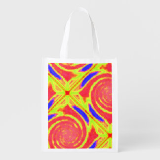 Yellow Orange Blue Broken Diamond Swirl Grocery Bag