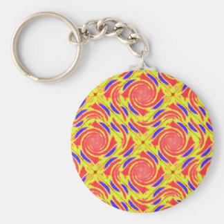 Yellow Orange Blue Broken Diamond Swirl Keychain