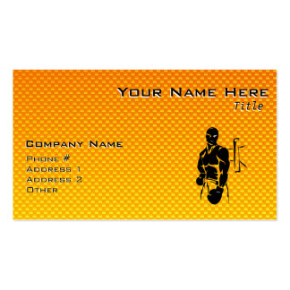 Yellow Orange Boxing Double-Sided Standard Business Cards (Pack Of 100)