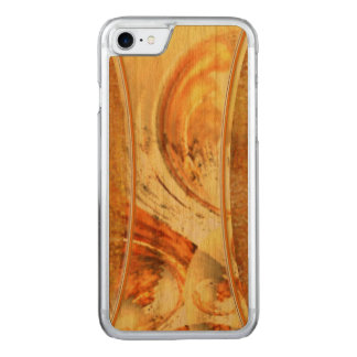 Yellow Orange Brown Natural Earth Tones Artsy Wood Carved iPhone 8/7 Case