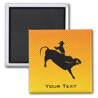 Yellow Orange Bull Riding 2 Inch Square Magnet