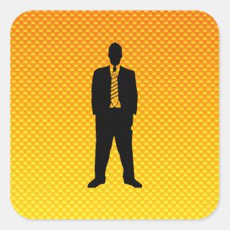 Yellow Orange Business Suit Square Stickers