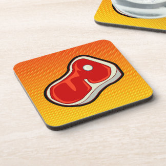 Yellow Orange Butcher s Steak Beverage Coasters