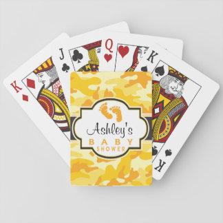 Yellow Orange Camo, Camouflage Baby Shower Poker Cards