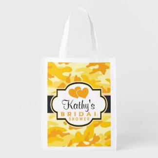 Yellow Orange Camo, Camouflage Bridal Shower Grocery Bag