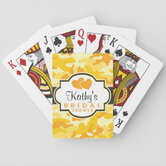 Yellow Orange Camo, Camouflage Bridal Shower Card Deck