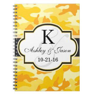 Yellow Orange Camo, Camouflage Wedding Notebooks