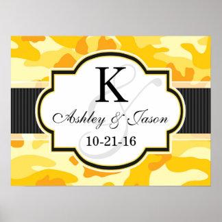 Yellow Orange Camo, Camouflage Wedding Poster