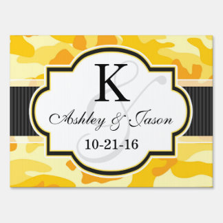 Yellow Orange Camo, Camouflage Wedding Lawn Sign