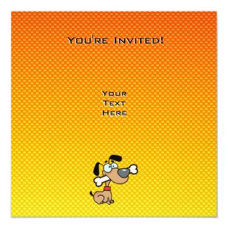 Yellow Orange Cartoon Dog 5.25x5.25 Square Paper Invitation Card