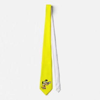 Yellow Orange Cartoon Dog Neck Tie