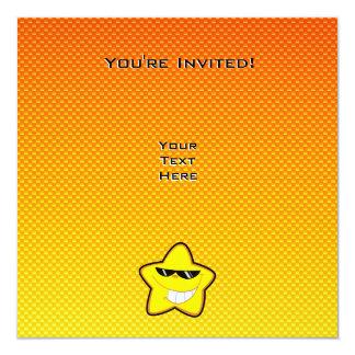 Yellow Orange Cartoon Star Card