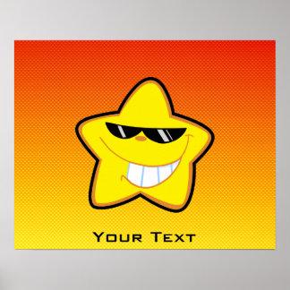 Yellow Orange Cartoon Star Print