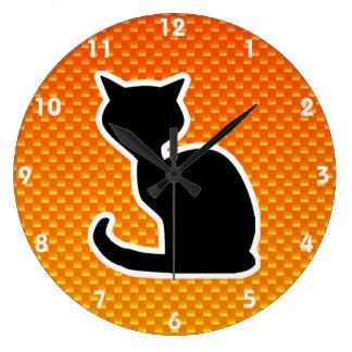Yellow Orange Cat Round Wall Clocks
