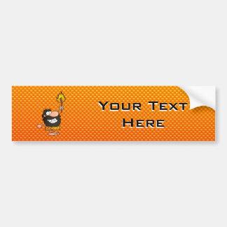 Yellow Orange Caveman Car Bumper Sticker