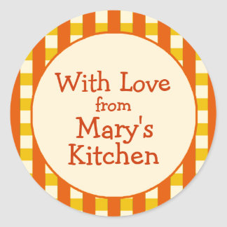 Yellow Orange Checkered Border Canning Labels Stickers