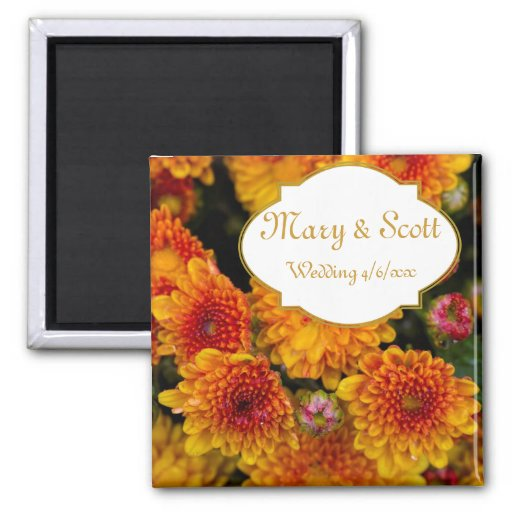 Yellow orange chrysanthemums Wedding Favor Magnet