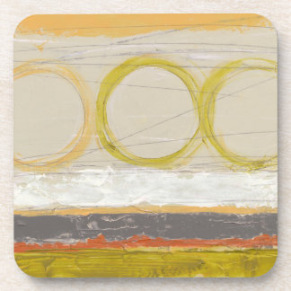 Yellow & Orange Circles on Multicolored Background Coaster