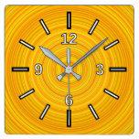 [ Thumbnail: Yellow & Orange Circular Pattern Square Clock ]