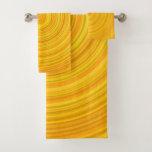 [ Thumbnail: Yellow & Orange Circular Pattern Towel Set ]