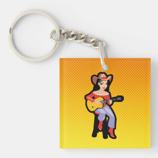 Yellow Orange Cowgirl with Guitar Double-Sided Square Acrylic Keychain