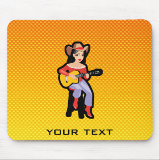 Yellow Orange Cowgirl with Guitar Mouse Pad